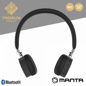 Auscultadores Bluetooth S/ Fios Stereo Pretos Premium MANTA - (HDP9003)