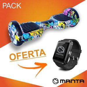 """Hoverboard 36V 12Kmh C/ Oferta SmartWatch 1.44"""" MANTA - (MSB9001-PACK1)"""