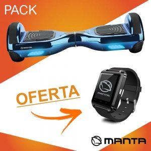 """Hoverboard 36V 12kmh C/ Oferta SmartWatch 1.44"""" MANTA - (MSB9014-PACK2)"""