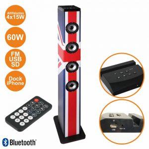 Coluna Centro Amplificada FM/USB/BT/SD 4x15W 60W Uk - (HP41-BTH-UK)