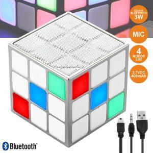Coluna Bluetooth Cubo Mágico 3W LEDS RGB BT/SD/Aux/Bat - (HPCUBE)