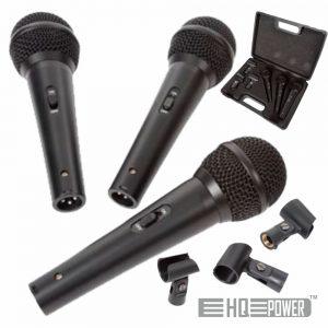 Conjunto 3 Microfones Dinâmicos C/ Adaptadores HQ POWER - (HQMC10007)