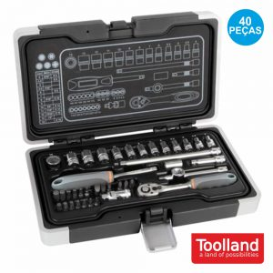 "Conjunto Chaves C/ Roquete 1/4"" 40x TOOLLAND - (HSETPRO9)"