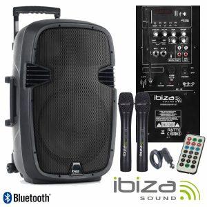 "Coluna Amplificada 12"" 500W USB/BT/SD/Bat/2xmic Vhf IBIZA - (HYBRID12VHF-BT)"