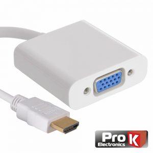 Adaptador HDMI -> VGA Branco PROK - (INF-HDMIVGA05WH)