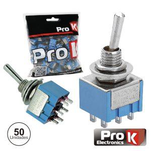 Interruptor Alavanca Miniatura On-Off-On 50x PROK - (ITR203A/50)
