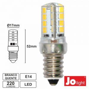 Lâmpada E14 3W=25W 24V (20-30V) 32 LEDS Branco Quente 220 Lm - (JO551/24WW)