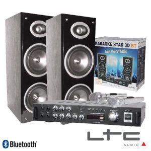 Conjunto Karaoke Amplificador 2x40W 2 Colunas 2mic BT Ltc - (KARAOKE-STAR3-BT)