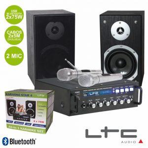 Conjunto Karaoke Amplificador 2x75W 2 Colunas 2mic BT Ltc - (KARAOKE-STAR4-MKII)
