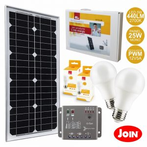 Kit Fotovoltáico 25W 12V S/ Bateria JOIN - (KIT25-SB)