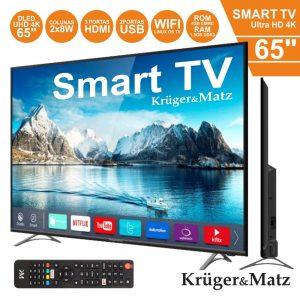 "Smart TV LED 65"" UHD 3HDMI 2USB Dvb-T/T2/S2/S/C Kruger Matz - (KM0265UHD-S)"