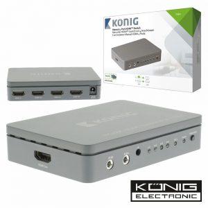Distribuidor Comutador HDMI 4 Entradas 1 Saída 4k Konig - (KNVSW3404)