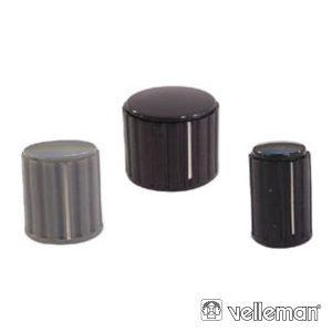 Botão P/ Potenciómetro Preto C/ Linha Branca 10x16mm - (KN104BS)
