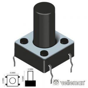 Comutador Micro Switch 6x6mm Altura 9.5mm VELLEMAN - (KRS06095)