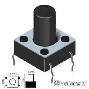 Comutador Micro Switch 6x6mm Altura 7mm VELLEMAN - (KRS0610)