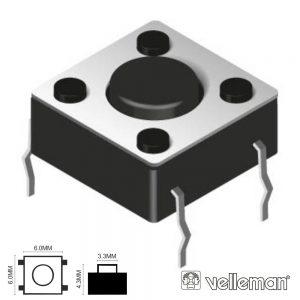Comutador Micro Switch 6x6mm Altura 4.3mm VELLEMAN - (KRS0611)