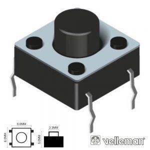 Comutador Micro Switch 6x6mm Altura 5mm VELLEMAN - (KRS0612)