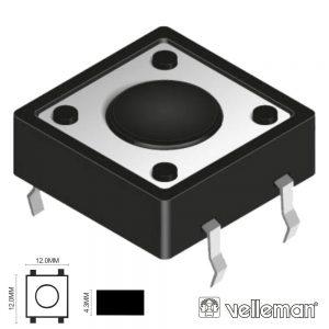 Interruptor Micro Switch 12x12mm Altura 4.3mm VELLEMAN - (KRS1243)