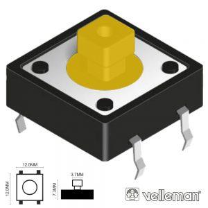 Interruptor Micro Switch 12x12mm Altura 7.3mm VELLEMAN - (KRS1273)