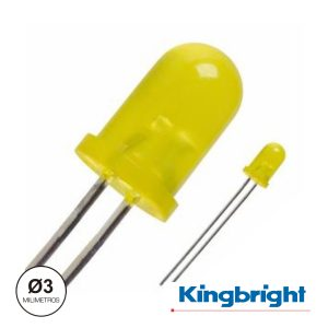 LED 3mm Alto Brilho Amarelo Difuso Kingbright - (L-7104LYD)