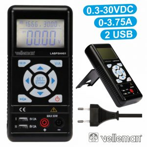 Fonte De Alimentação Digital 0-30V / 0-3.75a 2 USB VELLEMAN - (LABPSHH01)