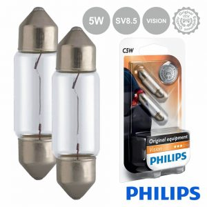 Lâmpada P/ Automóvel 12V C5W Sv8.5 5W Vision 45lm Philips - (LAMP-C5W-PH)