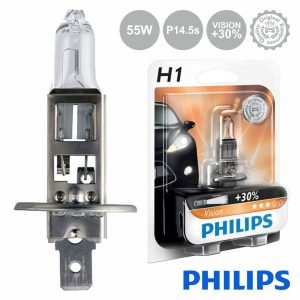 Lâmpada P/ Automóvel 12V H1 P14.5s 55W Vision+30 Philips - (LAMP-H1-PH)