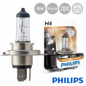 Lâmpada P/ Automóvel 12V H4 P43t-38 60/55W Vision+30 Philips - (LAMP-H4-PH)