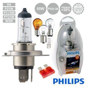 Lâmpada P/ Automóvel 12V H4 P43t-38 60/55W Premium Philips - (LAMP-H4-PH/2)