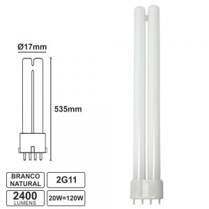 Lâmpada LED Pl 2g11 4 Pinos 20W 230V 4200k 535mm 2400lm - (PLL20NW)
