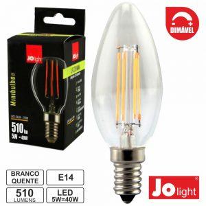 Lâmpada E14 5W 230V LED Filamento Dimável Vela 2700k 510lm - (LF330WW)