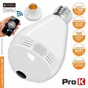 Lâmpada E27 C/ Câmara Ip Incorporada Wifi PROK - (CVCLAMPE27-WIFI-A)
