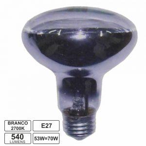 Lâmpada E27 52W=70W 230V R63 Halogéneo Branco Quente - (LHE27R6352A)