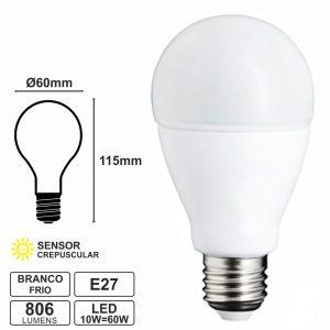 Lâmpada E27 10W=60W 230V LED Crepuscular 4000k 806lm - (LLE2710LDRCW(V))