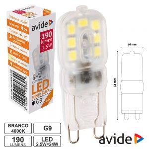Lâmpada LED G9 2.5W 230V 4000K 190lm AVIDE - (ABG9NW-2.5W)