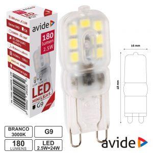 Lâmpada LED G9 2.5W 230V 3000k 180lm AVIDE - (ABG9WW-2.5W)