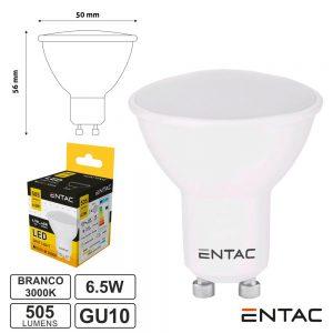 Lâmpada LED GU10 6.5W 230V 3000K 505lm ENTAC - (LLSW-6.5W-WW)
