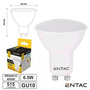 Lâmpada LED GU10 6.5W 230V 4000K 515lm ENTAC - (LLSW-6.5W-NW)
