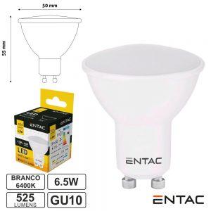 Lâmpada LED GU10 6.5W 230V 6400K 525lm ENTAC - (LLSW-6.5W-CW)