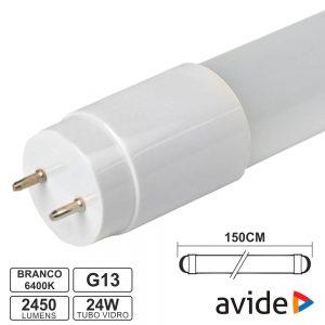 Lâmpada Tubular T8 24W 150cm LEDS G13 6400K 2450lm AVIDE - (AB1500T8-24W-CW-GL)