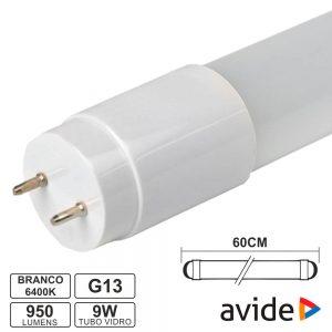 Lâmpada Tubular T8 9W 60cm LEDS G13 6400k 950lm AVIDE - (AB600T8-9W-CW-GL)