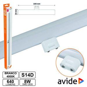Lâmpada Tubular 8W 50cm LEDS S14d 4000k 640lm AVIDE - (ABS14DNW-8W)