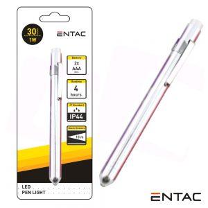 Lanterna C/ 1 LED 1W 30lm Tipo Caneta ENTAC - (EFL-1W-MINI-ALU)