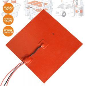 Trapete Silicone Aquecido Flexível 12V 200x200mm - (LAR674)
