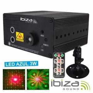Laser 150mW Vermelho/Verde LED Azul 3W Comando Mic 12V IBIZA - (LAS160P-MKII)