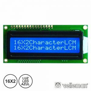 Lcd 16x2 C/ Luz LED Azul VELLEMAN - (LCD1602BLC)