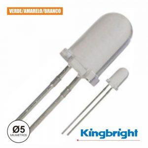 LED 5mm Alto Brilho Verde Amarelo E Branco Difuso Kingbright - (L-57GYW)