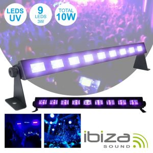 Barra LEDS UV C/ 9 LEDS UV 3W E Suporte IBIZA - (LED-UVBAR)