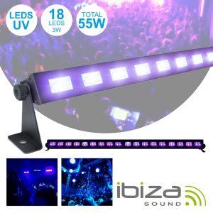 Barra LEDS UV C/ 18 LEDS UV 3W E Suporte IBIZA - (LED-UVBAR18)