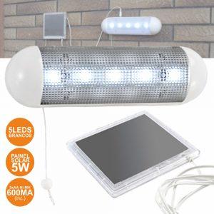 Lanterna 5 LEDS Com Painel Solar E Bateria - (LEDLIGHT5)